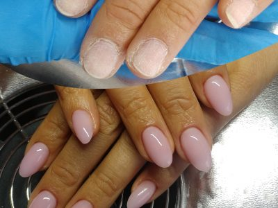 Hard gel extension nude before & after