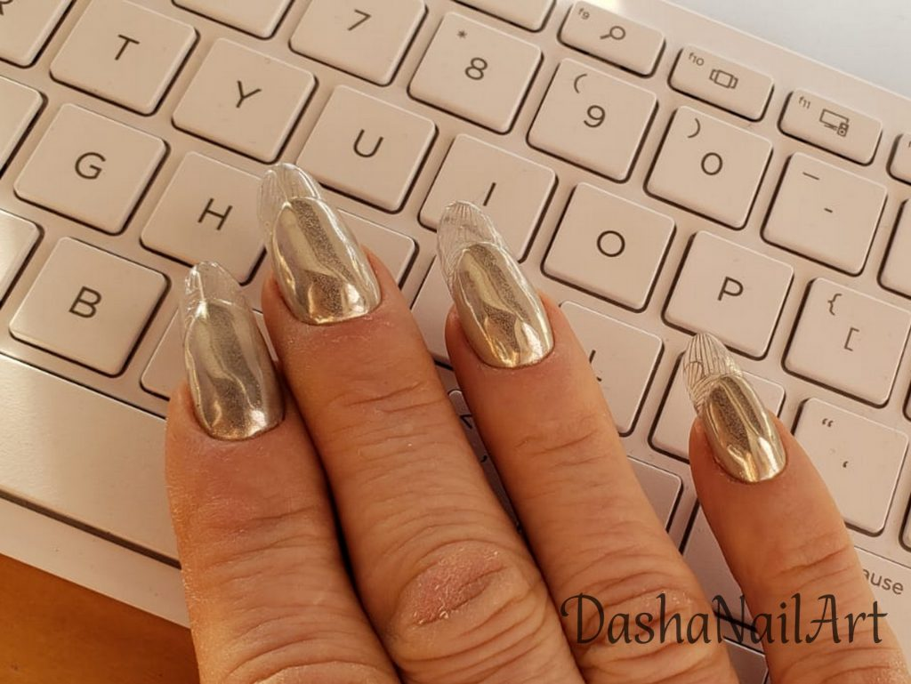 Metallic clear french tips nails