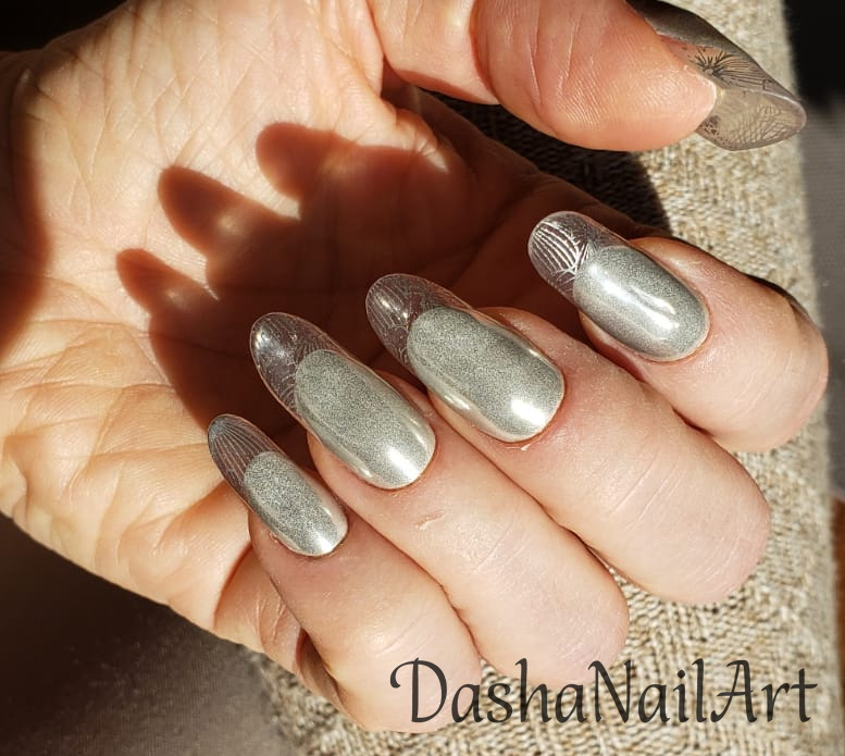 Silver modern almond clear french tips nails with stamping