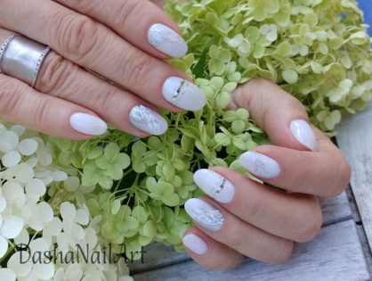 Classic nude white nails