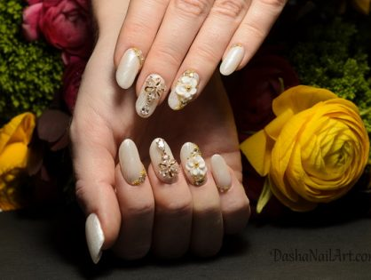 Wedding nails with 3D flowers, jewellery and diamonds
