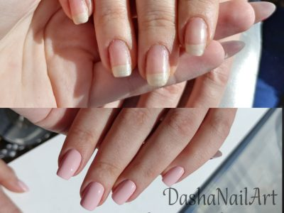 Hardware manicure nude natural pink nails before & after
