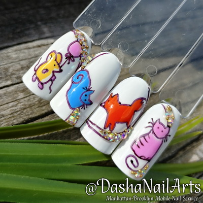 Funny nail designs with animals and fruits