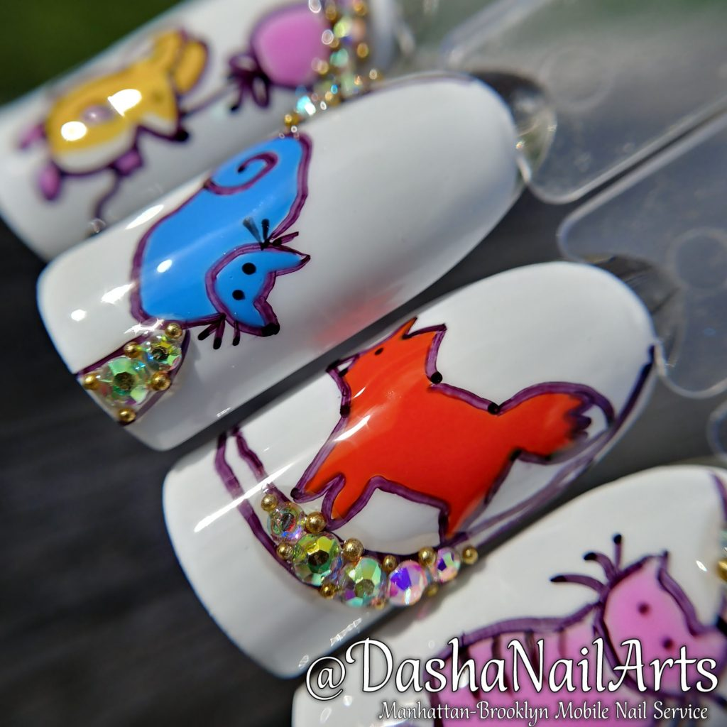 Nail design fox, cat, mouse