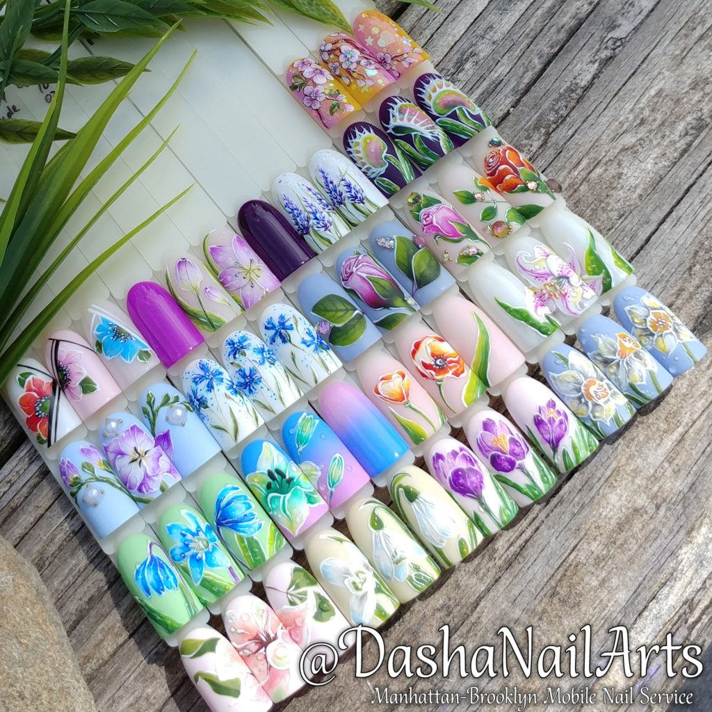 Set of different flower nail designs