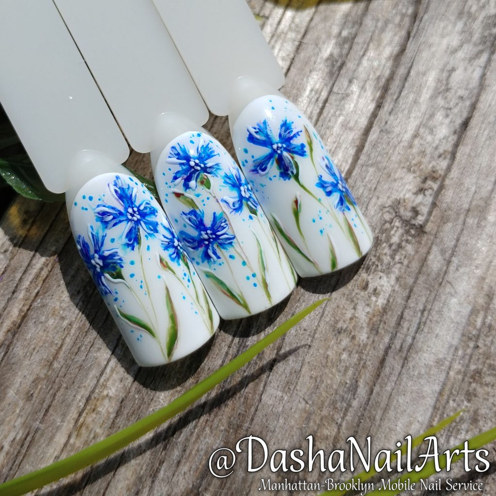 wild cornflower nail art
