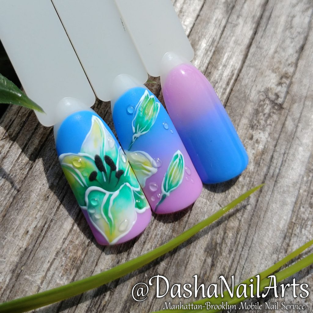 Lilac flower with ombre nail design