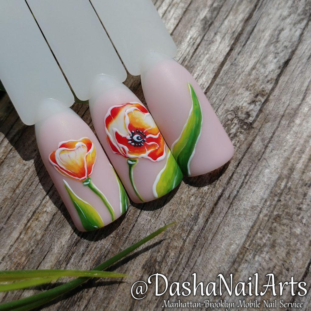 Tulip flower nail art