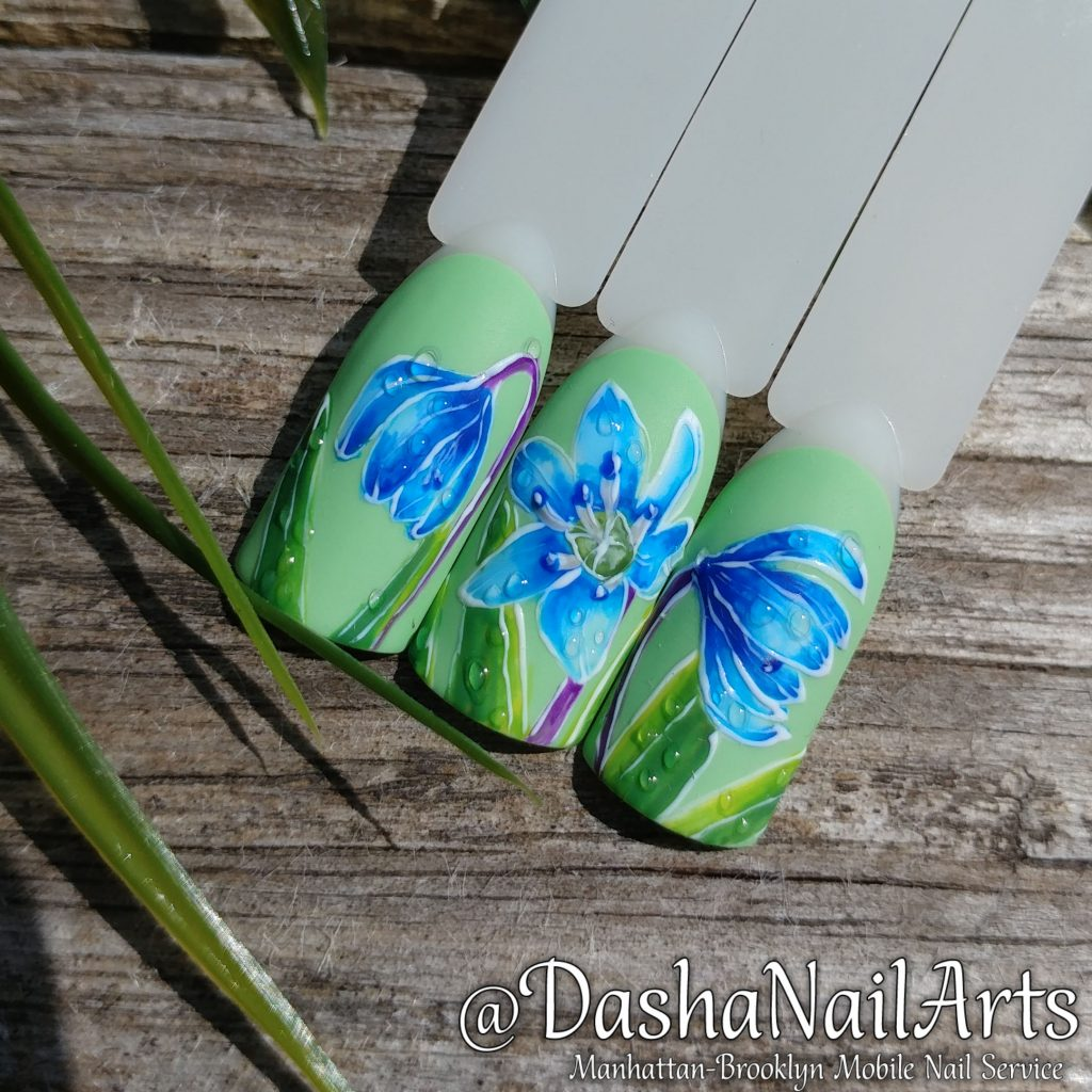 Snowdrop flower nail design
