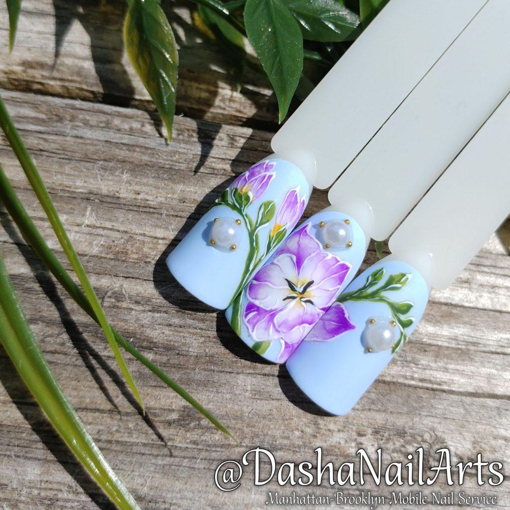 Freesia flower nail art
