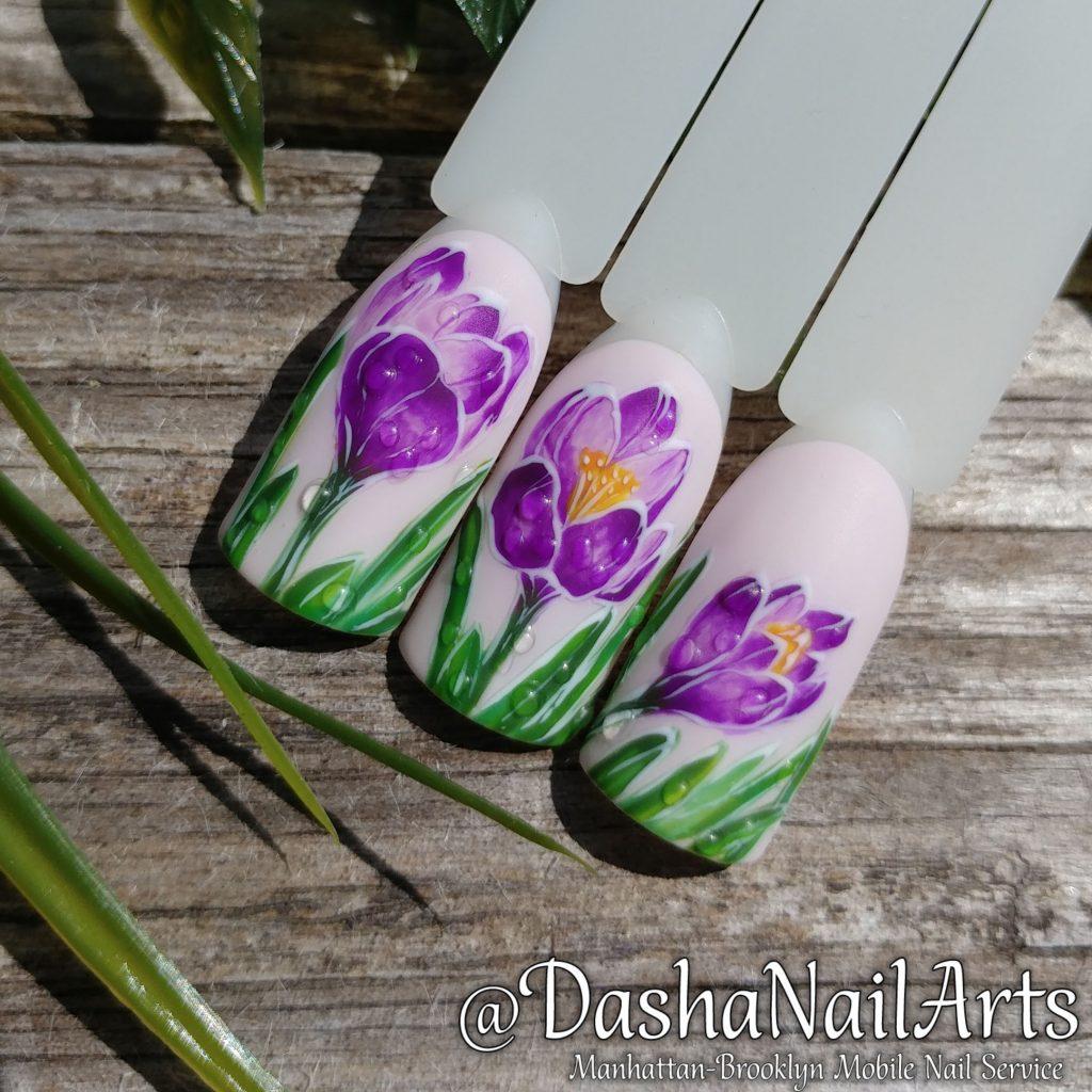 crocus flower nail art