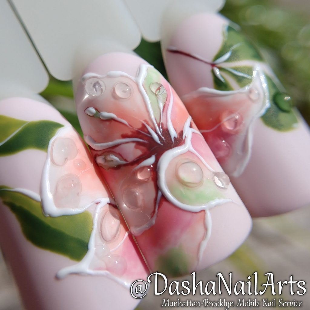 Lilac flower nails