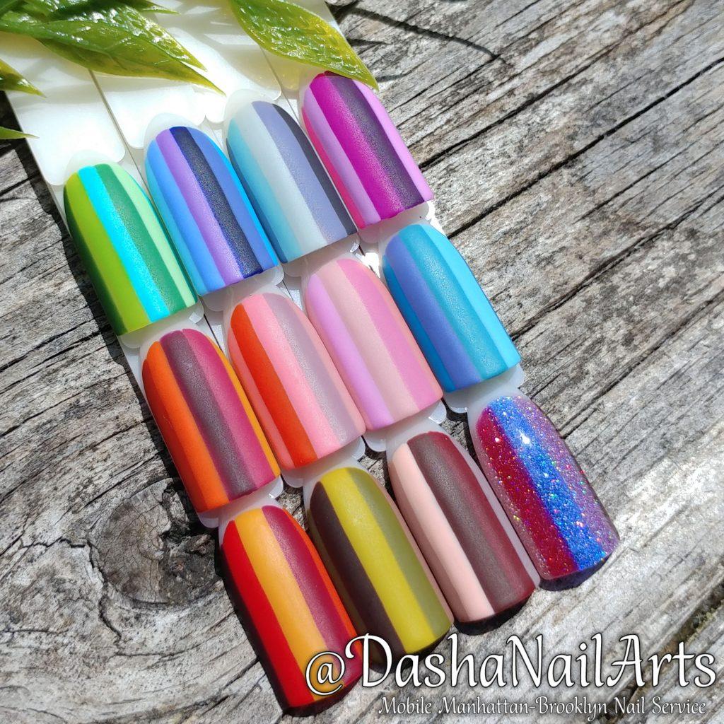 Set of stripe nail designs