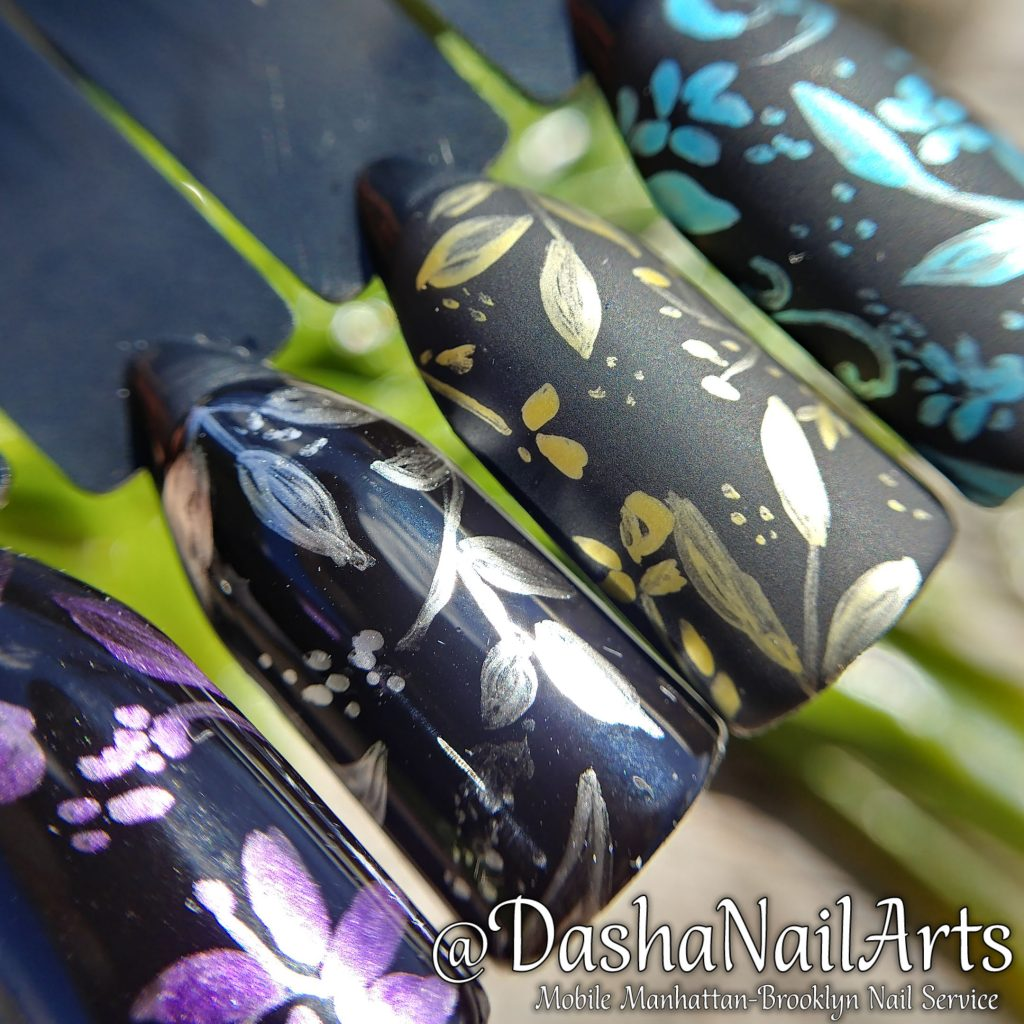 Nails with metallic patterns
