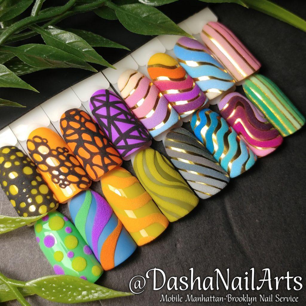 Set of colorful nail designs