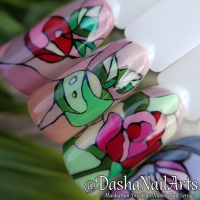 Stained-glass window style nail art