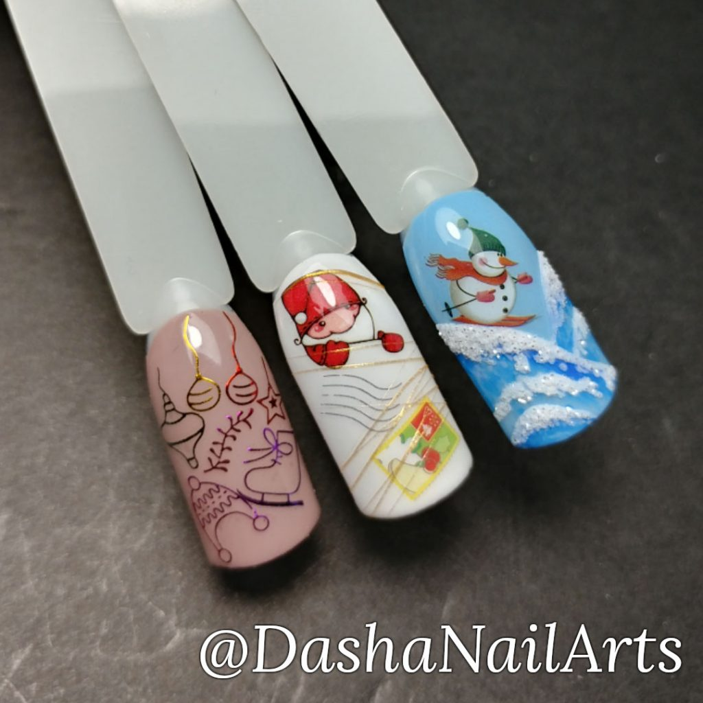 New Year nails with Santa and snowman and other new year stickers