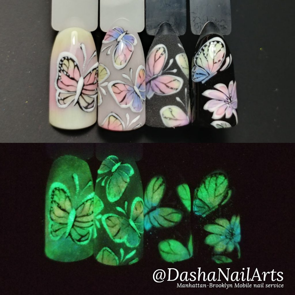 Glow in the dark nails with butterflies
