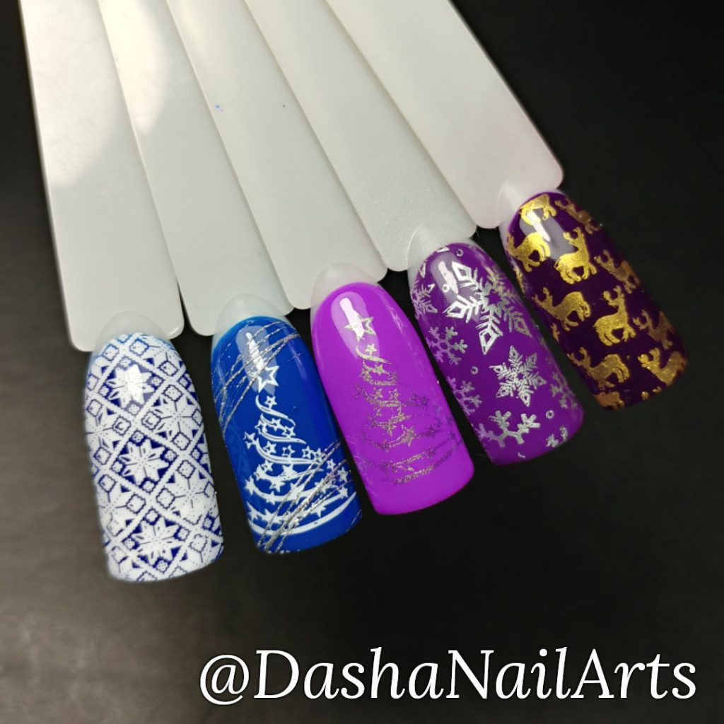 Christmas and New Year stamping nail design