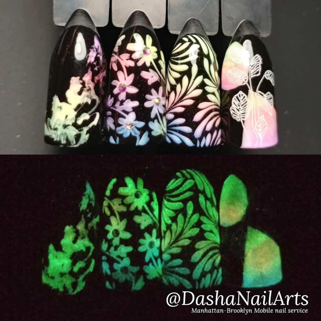Glow in the dark nails with floral designs