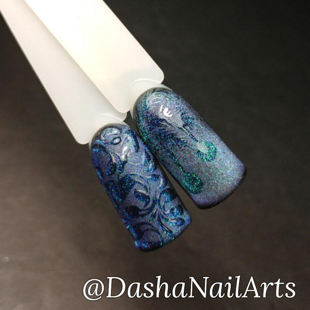 Cat eye New Yaer patterns nail design