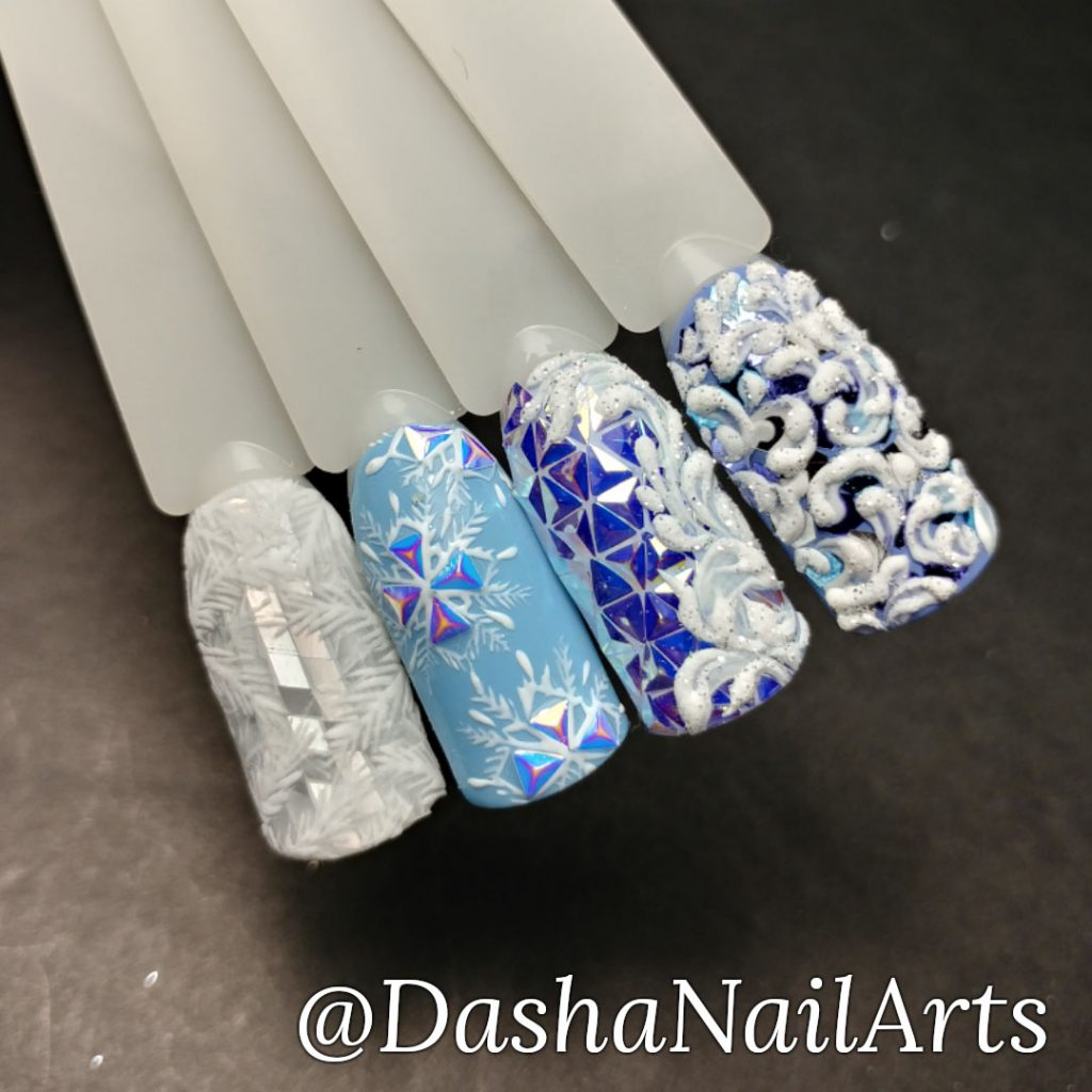 Winter nails with frozen window patterns