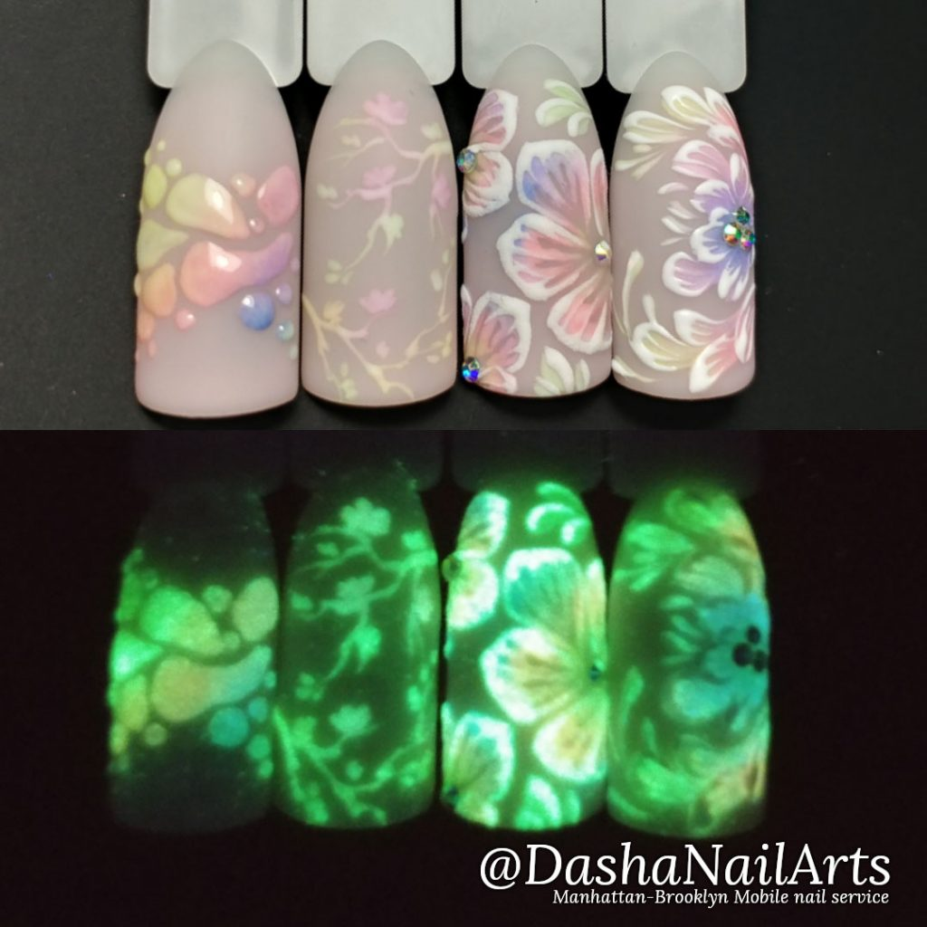 Glow in the dark nails with flowers designs