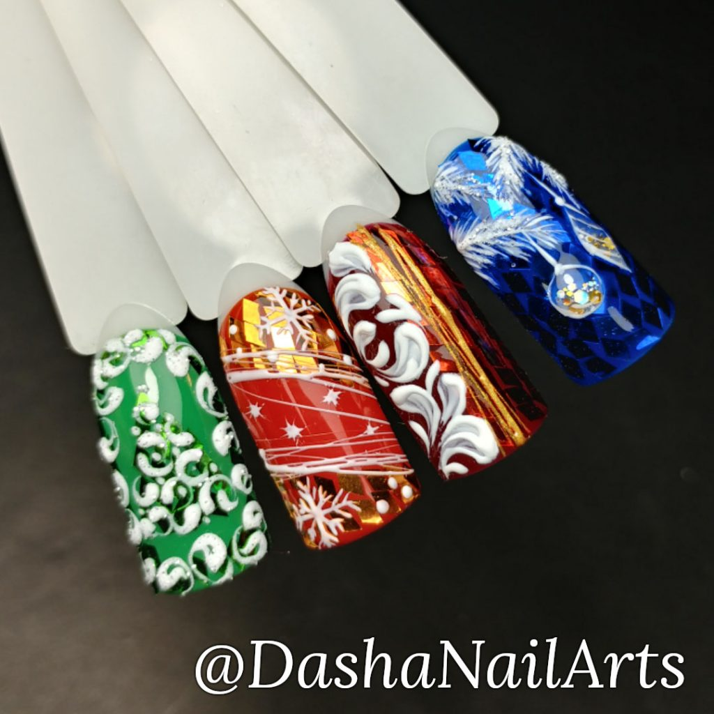 Shiny New Year nail designs in green, red and blue colors with frost patterns