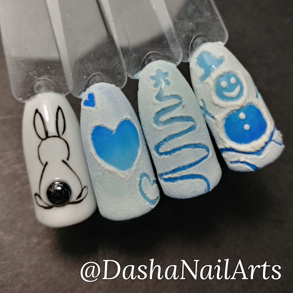 Funny hand drawn pictures on frozen window nail designs