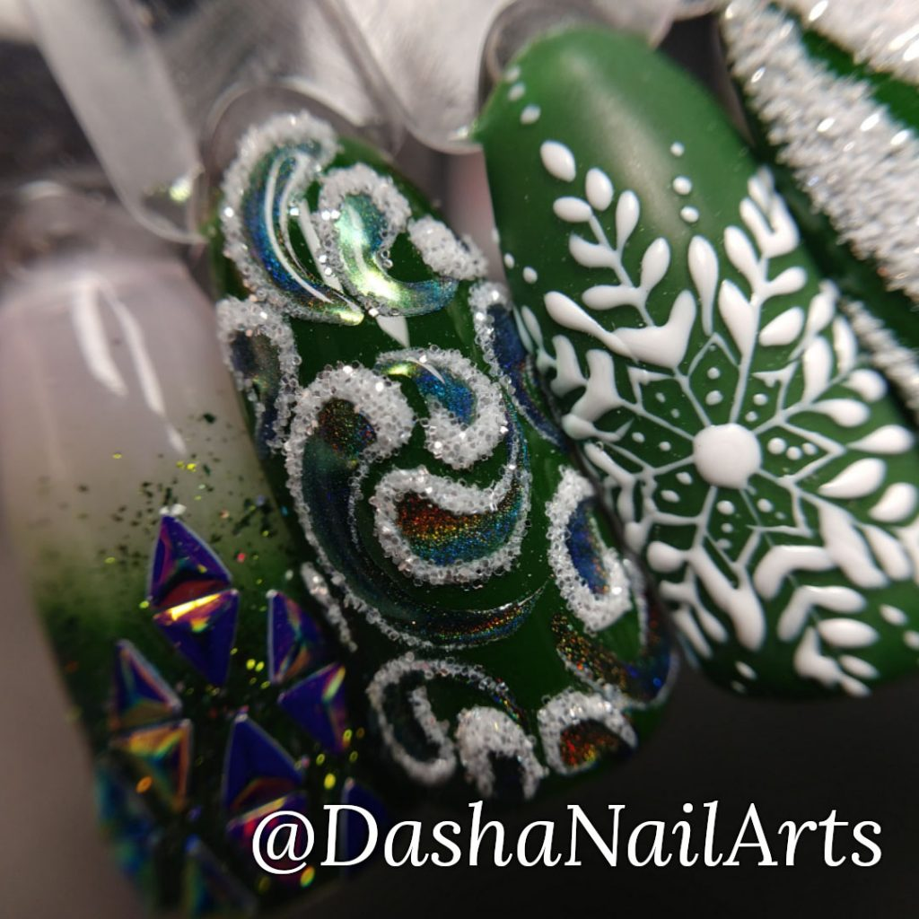 New Year green nail design with sweater, snowflakes, Christmas-tree decoration, frozen patterns