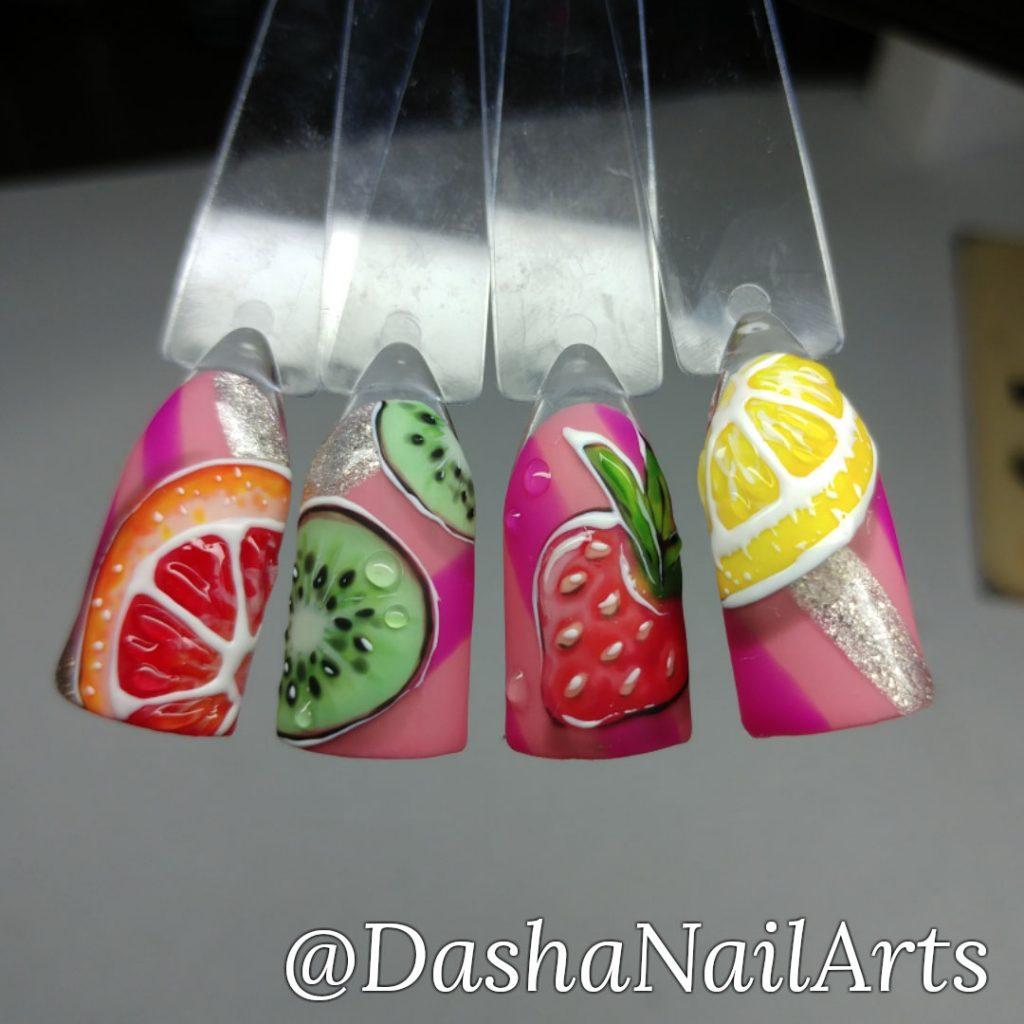 Fruit nails. Lemon, strawberry, kiwi, orange