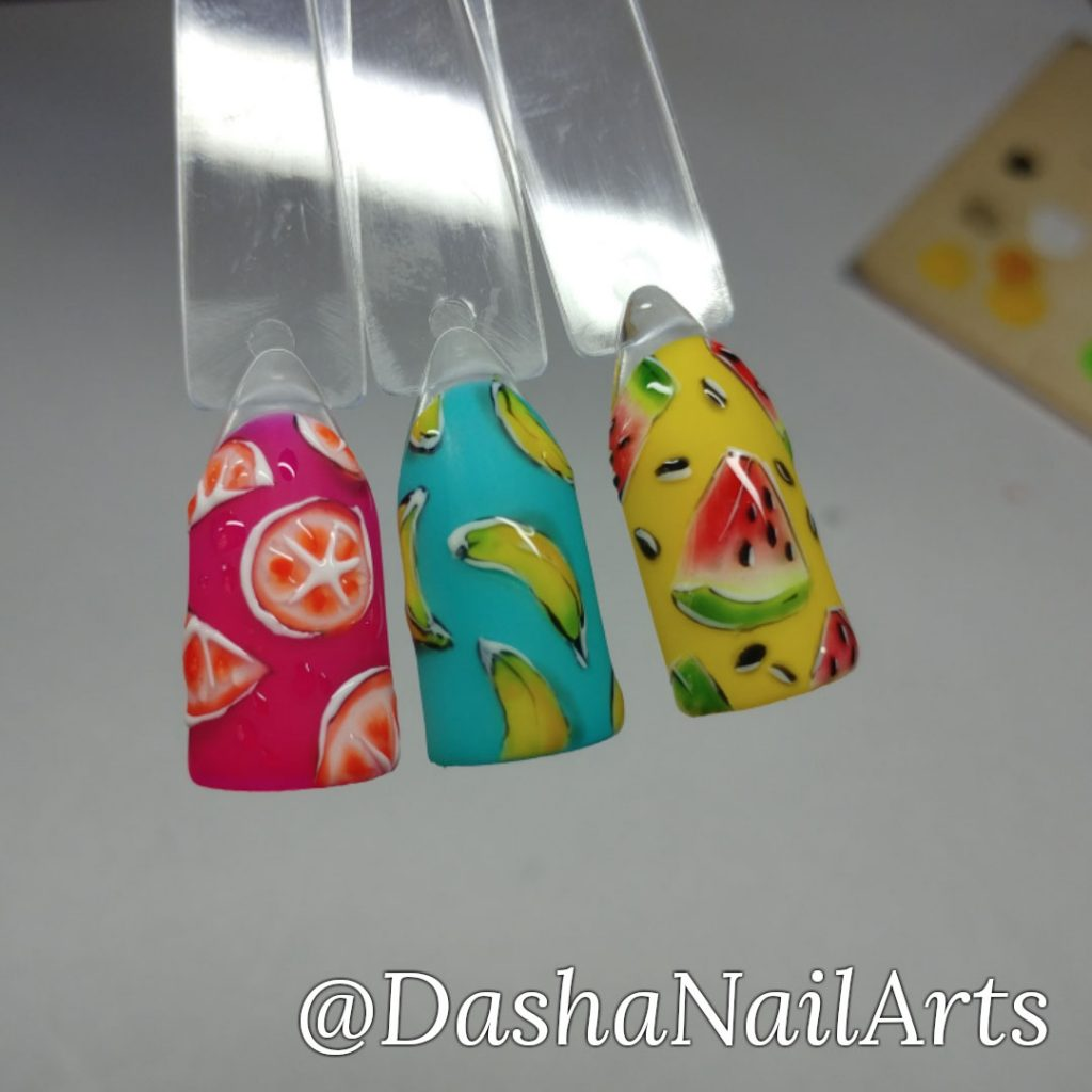 Fruit nails with orange, banana and watermelon