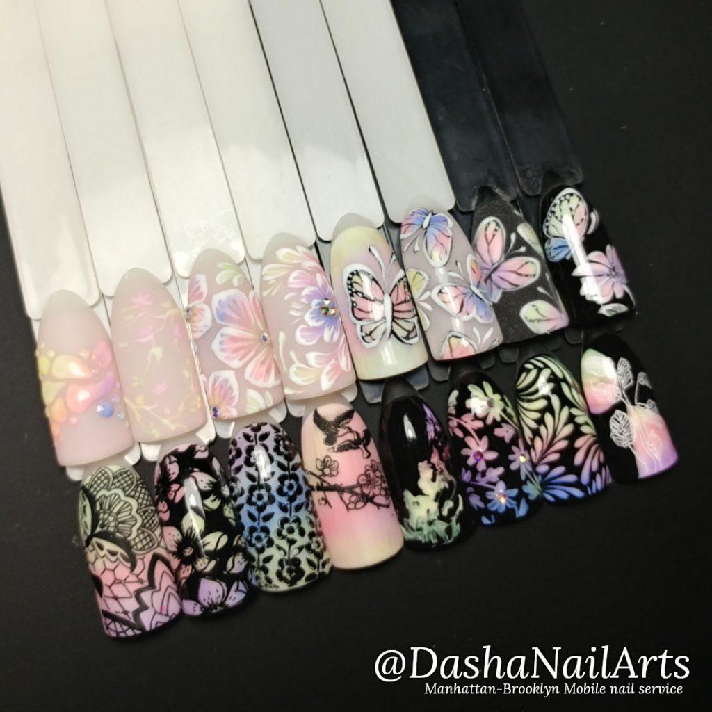 Set of Glow in the dark nail designs