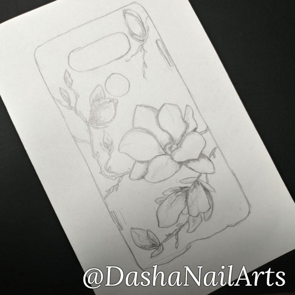 Phone case nail polish decoration draft