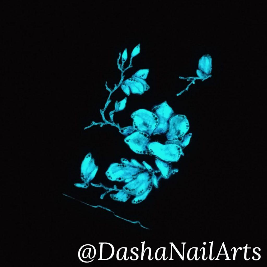 Hand made nail gel polish phone case that glows in the dark