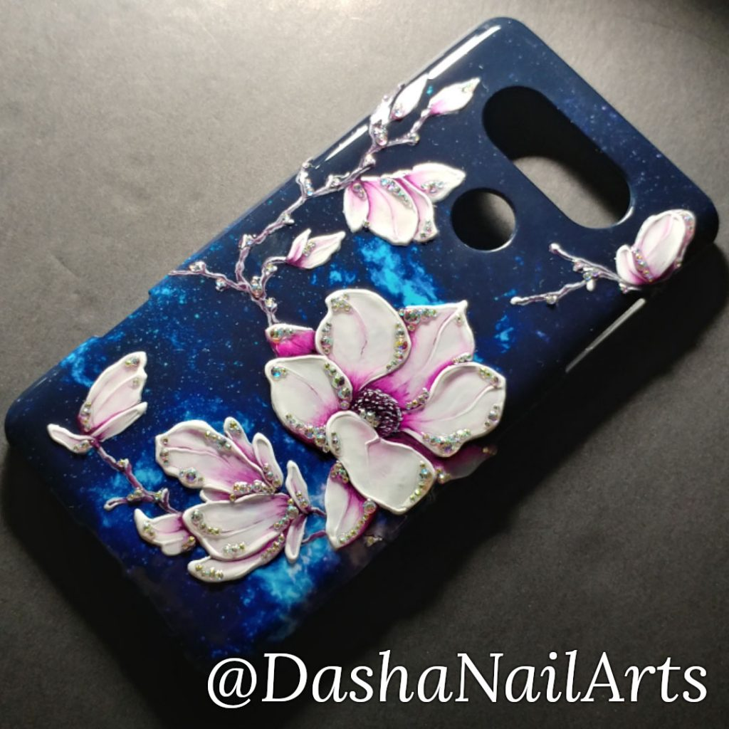 Nail art and Hand painted nail polish phone case with diamonds (used gel nail polish)