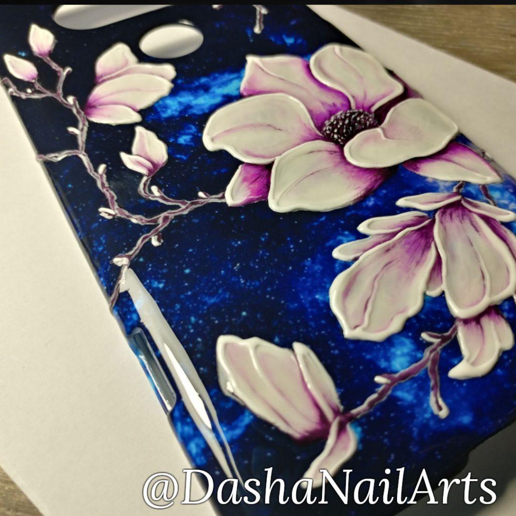 Flower hand drawn nail polish phone case
