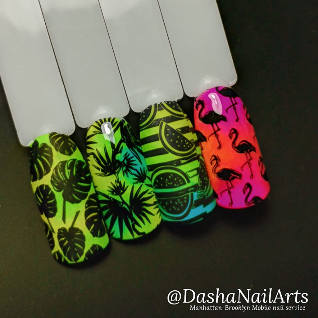 Neon stamping nails with tropical designs, flamingo