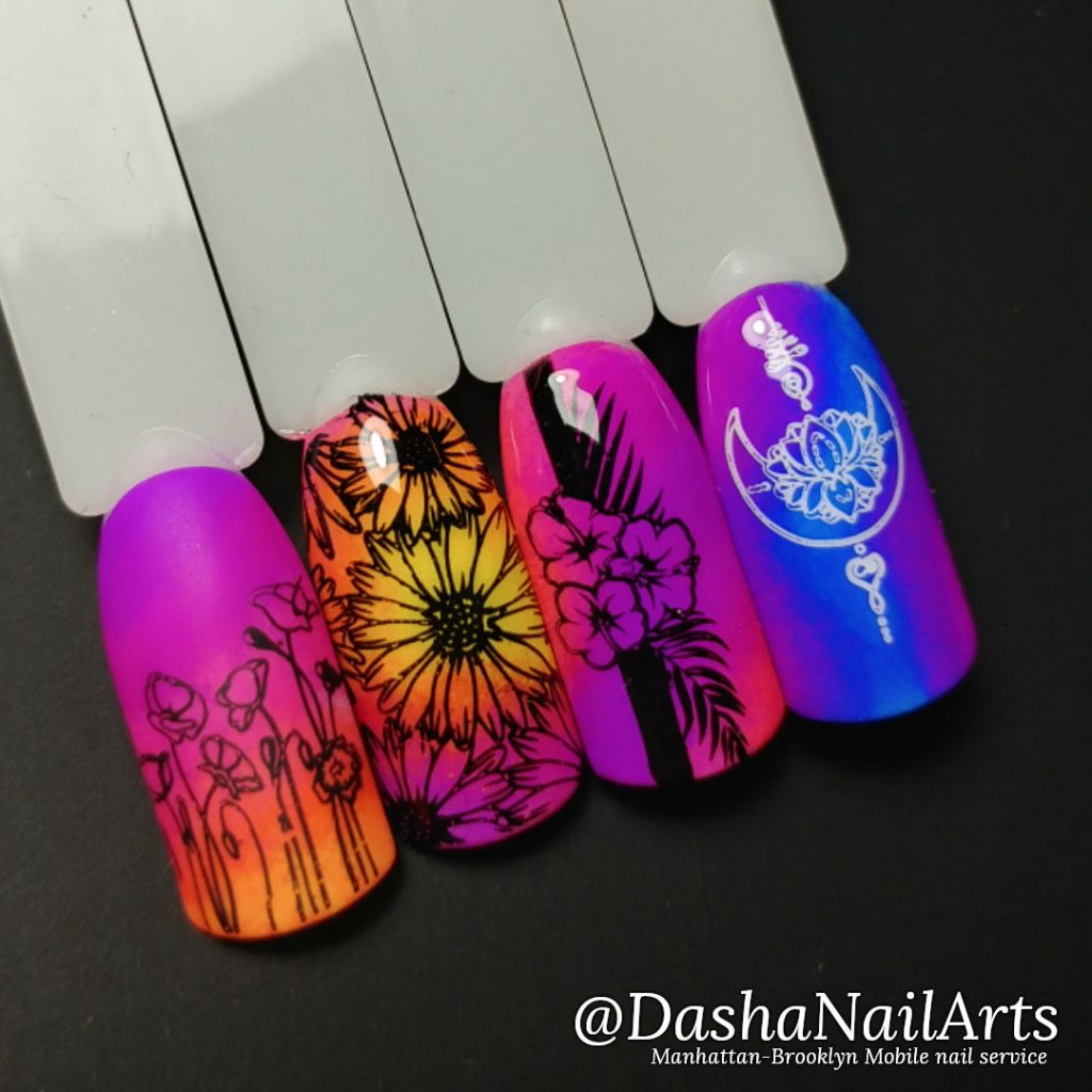 Neon stamping nails with flowers