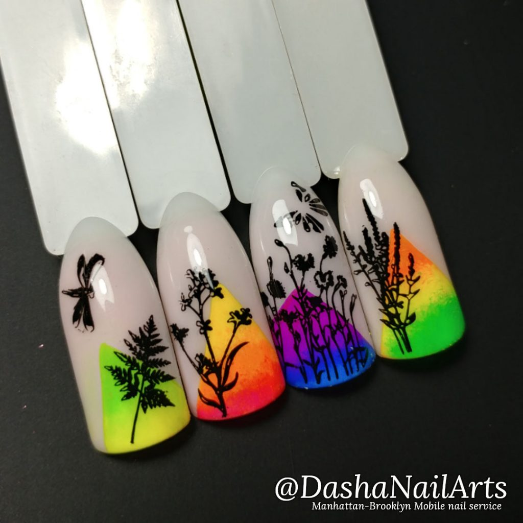 Neon stamping nails with floral art