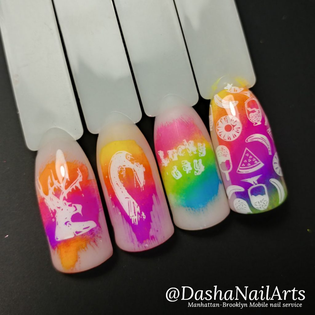 Neon bright colored fancy stamping nails