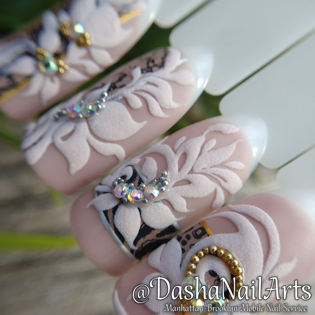 Nude 3D nails with flower pattern, stamping, diamonds, silver and gold bits