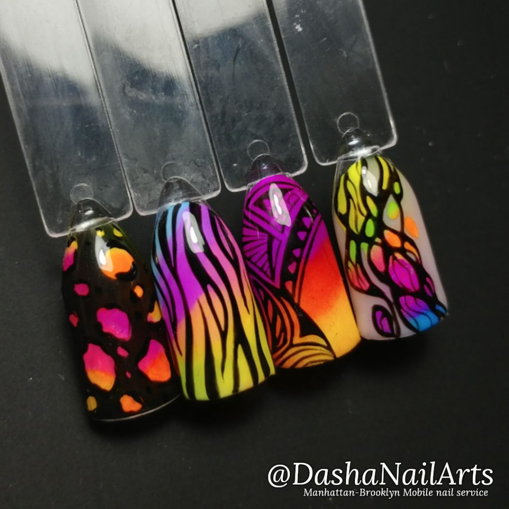 Abstract Neon nails with leopard and zebra patterns