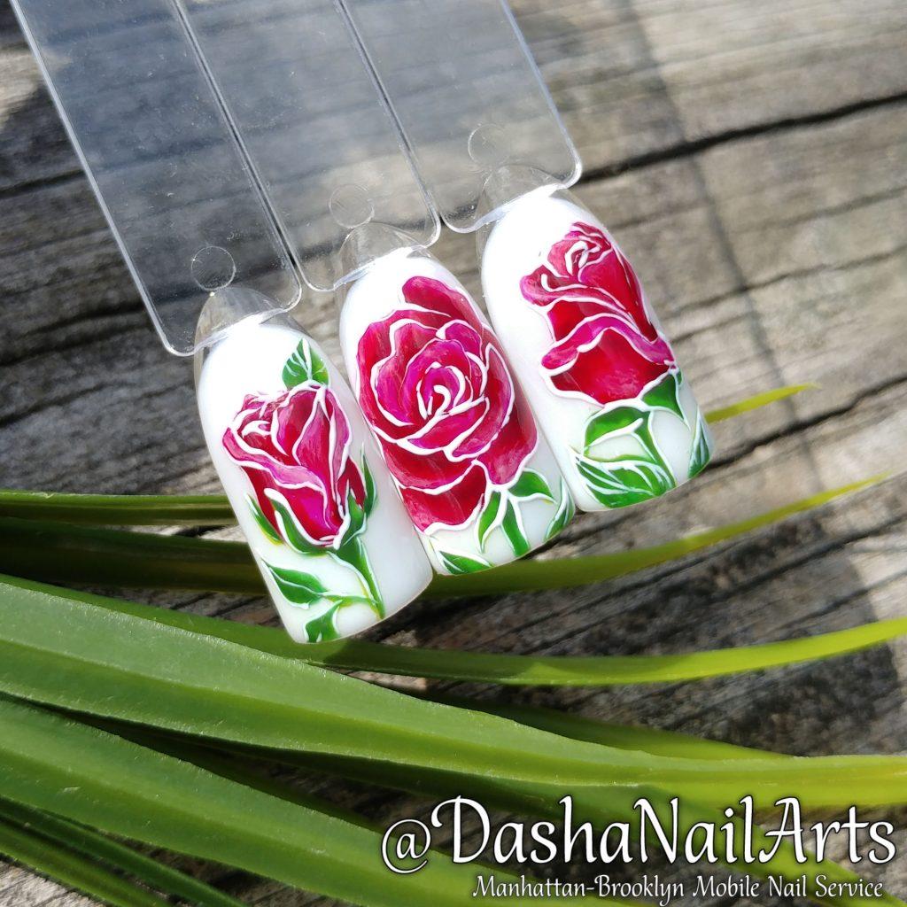 Red Roses nail art