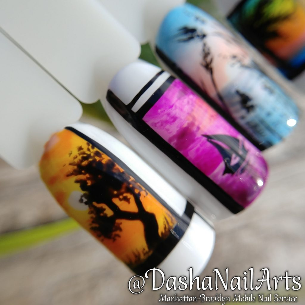 Vacation nails. Sunset, yacht, sea, tropical trees