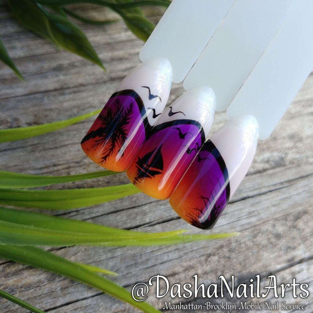 Sunset nails. Ship, gulls, palm trees