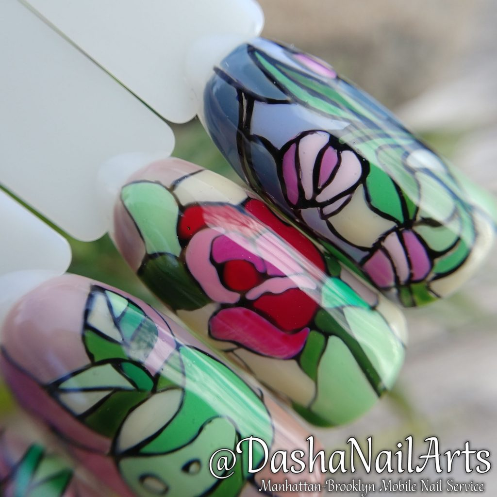 Stained-glass window nail art