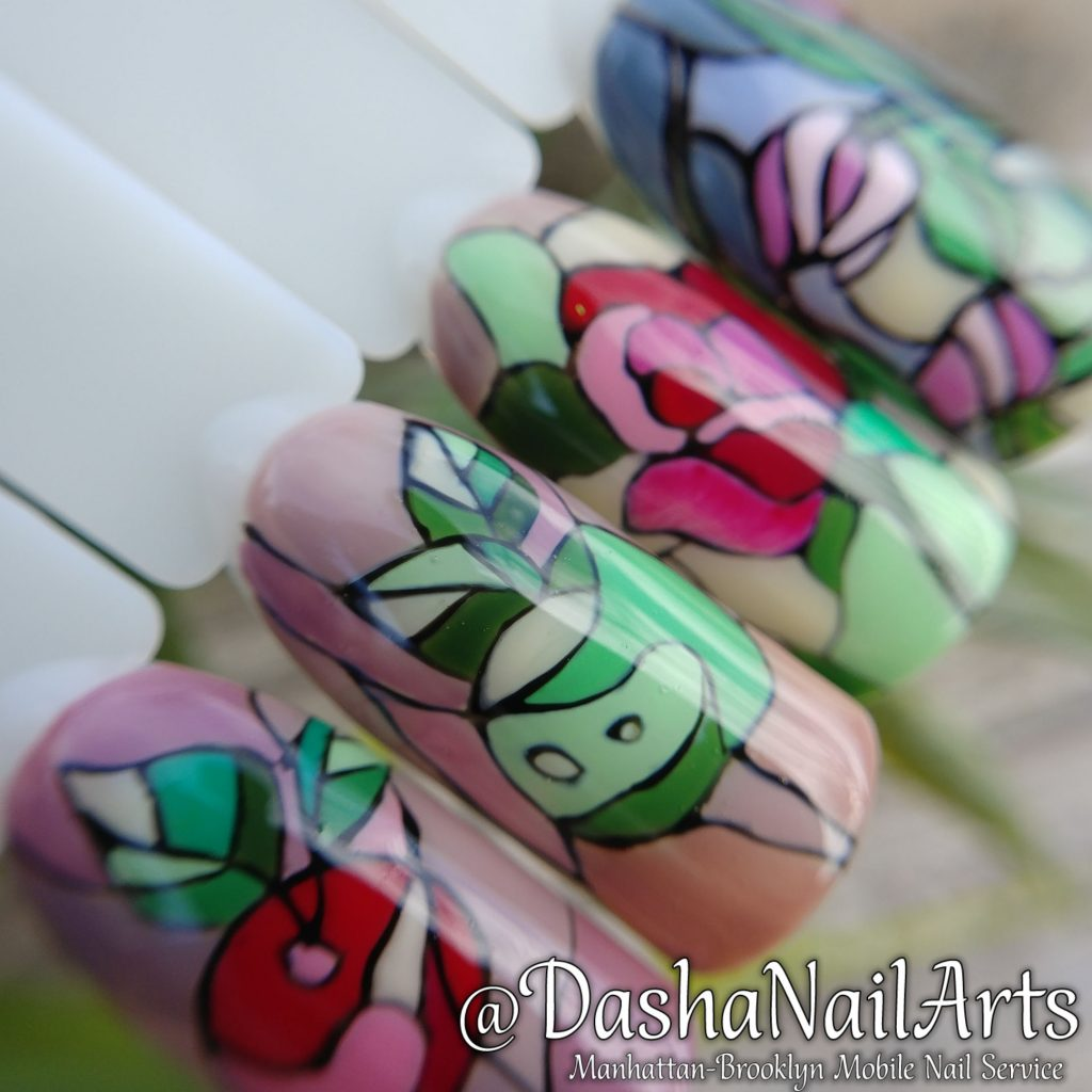 Stained-glass window nail designs
