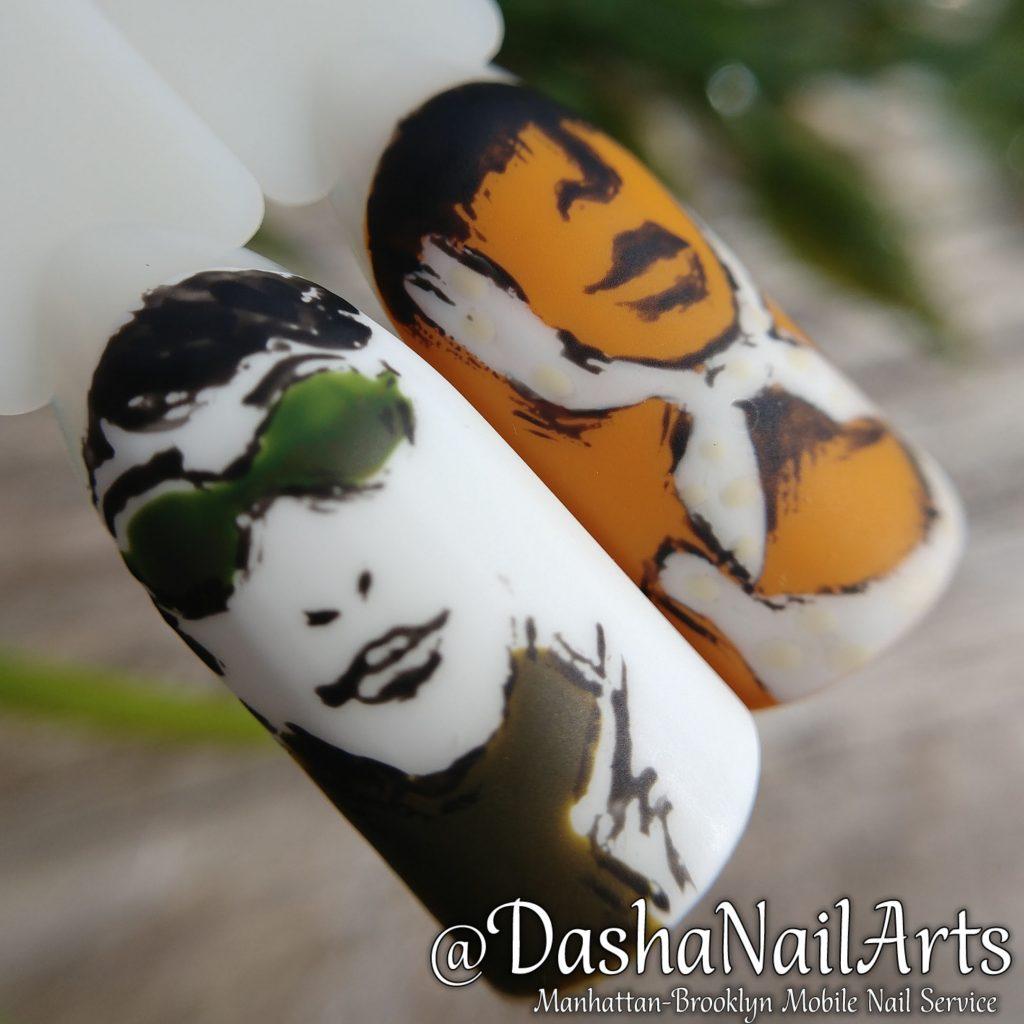 graffiti Nails with hand drawn face
