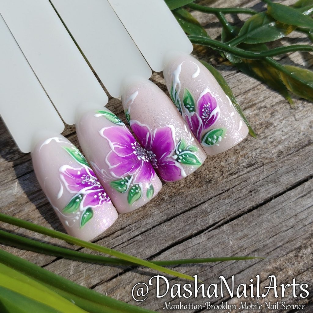 Purple floral nail design